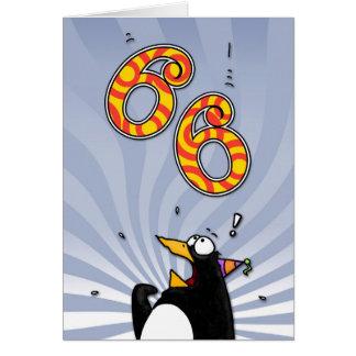 第66誕生日-ペンギンの驚きカード カード