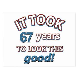 第67年の誕生日のデザイン ポストカード