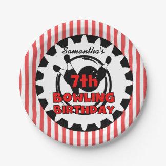 第7ボーリングのスポーツの誕生日の紙皿 ペーパープレート