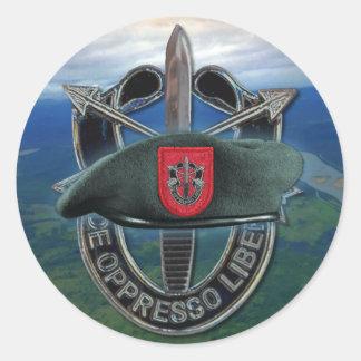 第7特殊部隊のグループの緑色のベレー帽の獣医のステッカー ラウンドシール