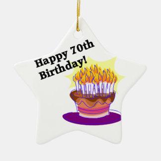 第70お誕生日ケーキ セラミックオーナメント
