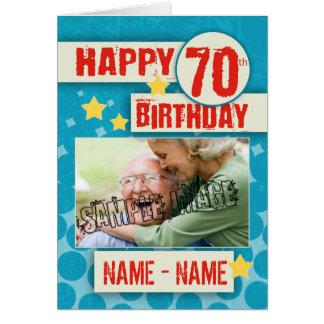 第70スタイリッシュな効果の誕生日-あなたの写真 カード