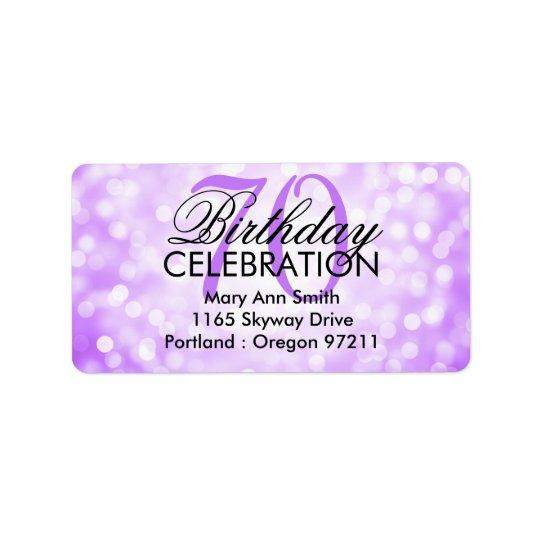 第70誕生会の紫色のグリッターライトに演説して下さい 宛名ラベル