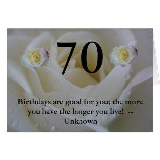 第70誕生日の白いバラの引用文の挨拶 カード