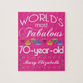 第70誕生日ほとんどのすばらしくカラフルな宝石のピンク ジグソーパズル