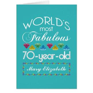 第70誕生日ほとんどのすばらしくカラフルな宝石Turquois カード