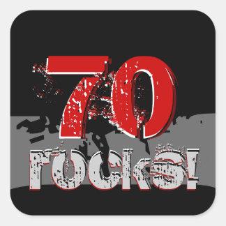 第70誕生日- 70個の石! グランジな赤くおよび黒い スクエアシール