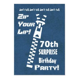 第70驚きの誕生日のジッパーあなたの唇の黙したグランジ カード