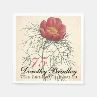 第75誕生会-植物のシャクヤクの紙ナプキン スタンダードカクテルナプキン