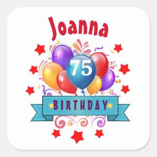 第75誕生日のお祝いのカラフルの気球C01GZ スクエアシール