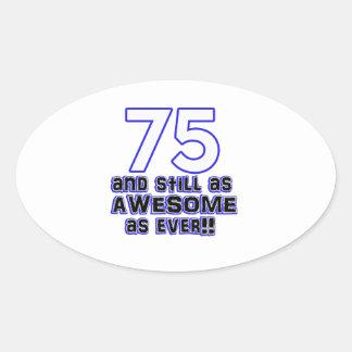 第75誕生日のデザイン 楕円形シール