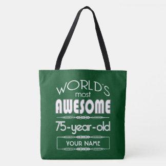 第75誕生日の世界の最も最高のですばらしい深緑色 トートバッグ