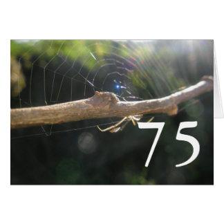 第75誕生日の蜘蛛の巣の挨拶状 カード