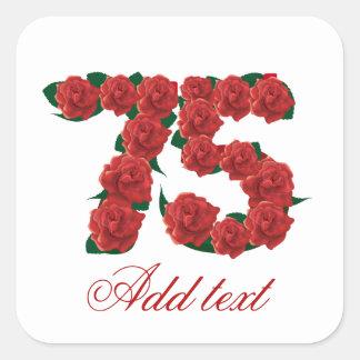 第75誕生日の赤いバラ第75 スクエアシール