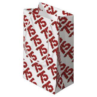 第75誕生日の赤いバラ第75 スモールペーパーバッグ