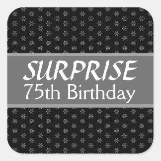 第75驚きの誕生日の黒の銀の赤 スクエアシール