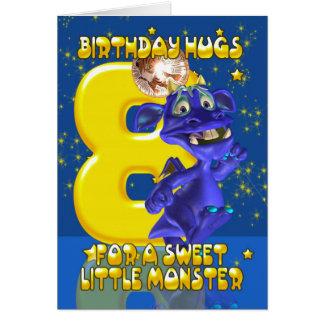 第8かわいく青いモンスター- Mooniesが付いているバースデー・カード カード