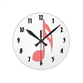 第8ノートの赤く黒い音楽design.png ラウンド壁時計