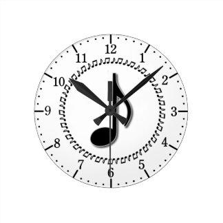 第8ノート音楽デザイン ラウンド壁時計
