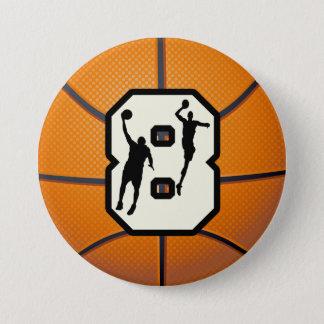 第8バスケットボールおよびプレーヤー 7.6CM 丸型バッジ