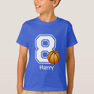 第8名前入りな2誕生日の男の子のバスケットボール Tシャツ
