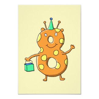 第8誕生日のためのオレンジ第8モンスター カード