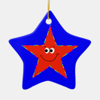 第8誕生日の赤くにこやかな星のオーナメント セラミックオーナメント