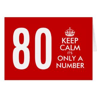 第80バースデー・カード はそれによってがただの数である平静を保ちます カード