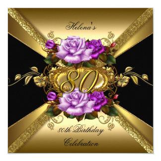 第80誕生会の紫色の金ゴールドのバラの黒 カード