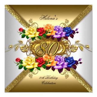 第80誕生会数々のな色の金ゴールドのバラ カード