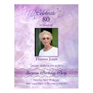 第80誕生日のパーティの招待状の郵便はがき ポストカード