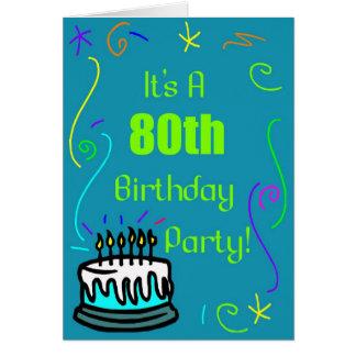 第80誕生日のパーティの招待状 カード