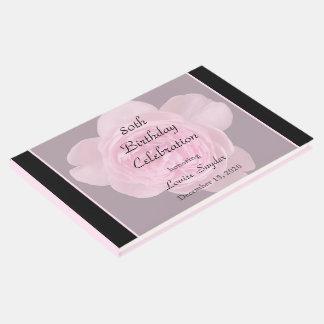 第80誕生日のピンクのバラの来客名簿 ゲストブック