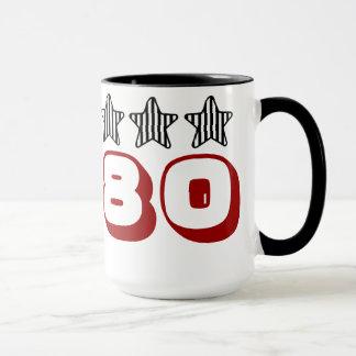 第80誕生日の星白黒ストライプのなZ507 マグカップ