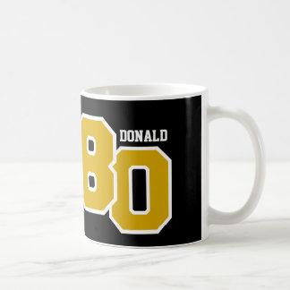 第80誕生日の金ゴールドおよび黒いV008A コーヒーマグカップ