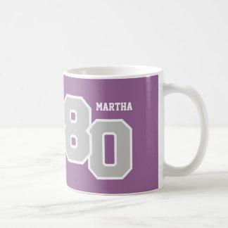 第80誕生日の銀および紫色V01XA コーヒーマグカップ