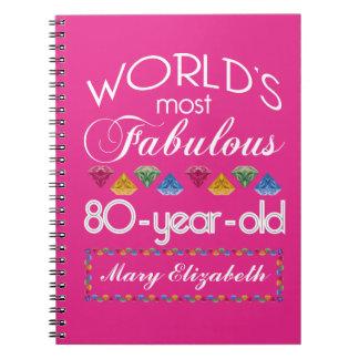 第80誕生日ほとんどのすばらしくカラフルな宝石のピンク ノートブック