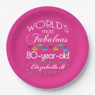 第80誕生日ほとんどのすばらしくカラフルな宝石のピンク ペーパープレート