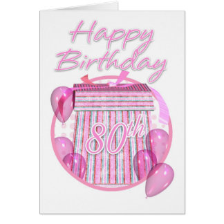 第80誕生日プレゼント箱-ピンク-ハッピーバースデー カード