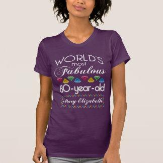 第80誕生日紫色ほとんどのすばらしくカラフルな宝石 Tシャツ