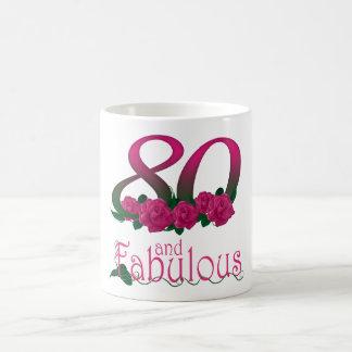 第80誕生日80のピンクのバラの花のマグ コーヒーマグカップ