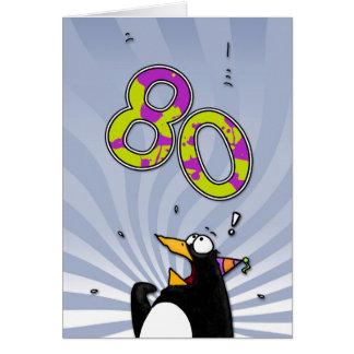 第80誕生日-ペンギンの驚きカード グリーティングカード