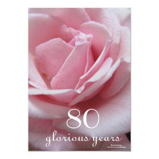 第80誕生祝い! -かわいらしいピンクのバラ カード