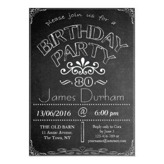 第80黒板の誕生祝いの招待状 カード