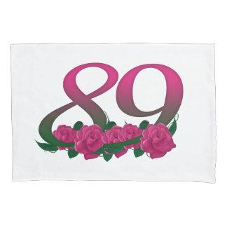 第89第89誕生日のピンクのバラの枕カバー 枕カバー
