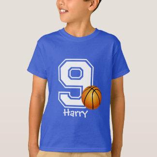 第9名前入りな2誕生日の男の子のバスケットボール Tシャツ