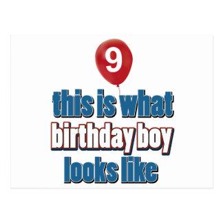 第9歳の誕生日のデザイン ポストカード
