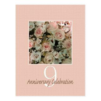 第9記念日のばら色の招待 ポストカード