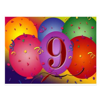 第9誕生会のカラフルの気球 ポストカード