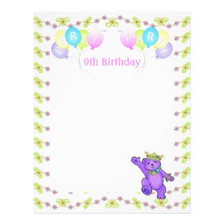 第9誕生日のプリンセスくまのパーティーのスクラップブックの紙1 チラシ